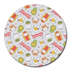 Funny Cat Food Succulent Pattern  Round Mousepads by Mishacat