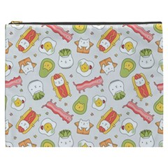 Funny Cat Food Succulent Pattern  Cosmetic Bag (XXXL)