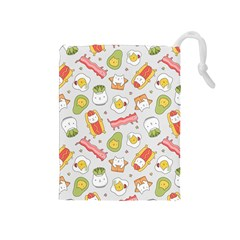 Funny Cat Food Succulent Pattern  Drawstring Pouches (medium)  by Mishacat