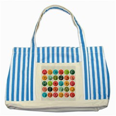 Alphabet Striped Blue Tote Bag by AnjaniArt