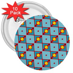 Shapes In Squares Pattern                                                                                                            3  Button (10 Pack) by LalyLauraFLM