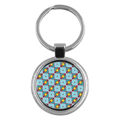 Shapes In Squares Pattern                                                                                                            key Chain (round) by LalyLauraFLM