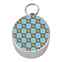 Shapes In Squares Pattern                                                                                                            			silver Compass (mini) by LalyLauraFLM