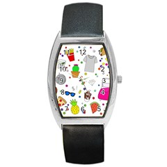 Animals Fruite Cake Lip Pattern Barrel Style Metal Watch by AnjaniArt