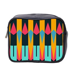 Shapes And Stripes                                                                                                             Mini Toiletries Bag (two Sides) by LalyLauraFLM