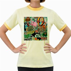Alphabet Patterns Women s Fitted Ringer T Shirts by AnjaniArt