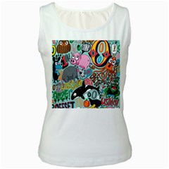 Alphabet Patterns Women s White Tank Top by AnjaniArt