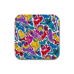 Animation Animated Cartoon Pattern Rubber Square Coaster (4 Pack)  by AnjaniArt