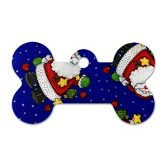 Blue Santas Clause Dog Tag Bone (Two Sides) by AnjaniArt