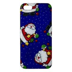 Blue Santas Clause Apple Iphone 5 Premium Hardshell Case by AnjaniArt