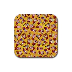 Bears Bunnies Goats Tigers Lions Pigs Gifts Texture Fun Rubber Coaster (square)  by AnjaniArt