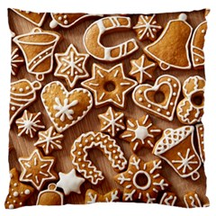 Christmas Cookies Bread Large Flano Cushion Case (two Sides)