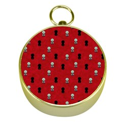 Cute Zombie Pattern Gold Compasses by AnjaniArt