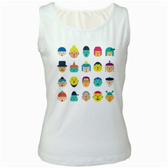 Face People Man Girl Male Female Young Old Kit Women s White Tank Top by AnjaniArt
