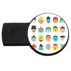 Face People Man Girl Male Female Young Old Kit Usb Flash Drive Round (2 Gb)  by AnjaniArt