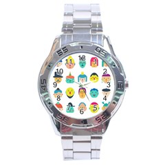 Face People Man Girl Male Female Young Old Kit Stainless Steel Analogue Watch by AnjaniArt