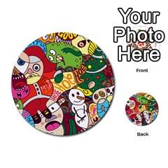 Face Mask Cartoons Stash Holiday Multi Purpose Cards (round)