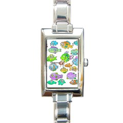 Fishes Col Fishing Fish Rectangle Italian Charm Watch by AnjaniArt