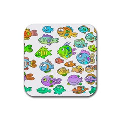 Fishes Col Fishing Fish Rubber Square Coaster (4 Pack)  by AnjaniArt