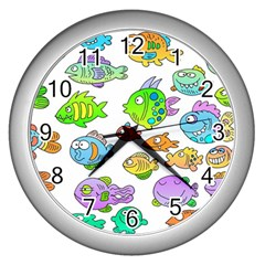 Fishes Col Fishing Fish Wall Clocks (silver)  by AnjaniArt