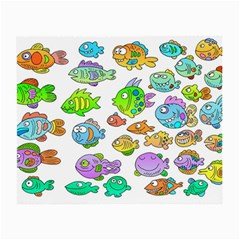 Fishes Col Fishing Fish Small Glasses Cloth (2 Side) by AnjaniArt