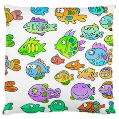 Fishes Col Fishing Fish Large Cushion Case (one Side) by AnjaniArt