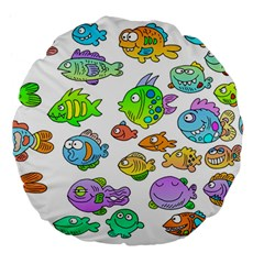 Fishes Col Fishing Fish Large 18  Premium Flano Round Cushions by AnjaniArt
