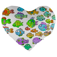 Fishes Col Fishing Fish Large 19  Premium Flano Heart Shape Cushions by AnjaniArt