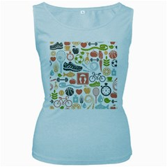 Health Habits Attitudes Hispanic Studied Sport Women s Baby Blue Tank Top by AnjaniArt