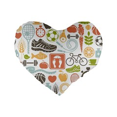 Health Habits Attitudes Hispanic Studied Sport Standard 16  Premium Flano Heart Shape Cushions by AnjaniArt