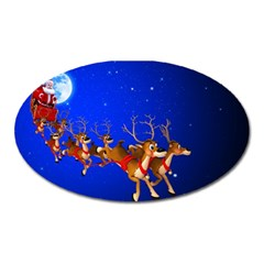 Holidays Christmas Deer Santa Claus Horns Oval Magnet by AnjaniArt