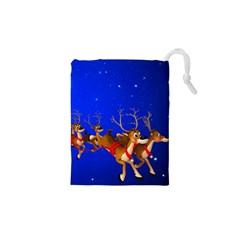 Holidays Christmas Deer Santa Claus Horns Drawstring Pouches (xs)  by AnjaniArt