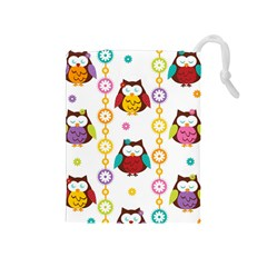 Owl Drawstring Pouches (medium)  by AnjaniArt