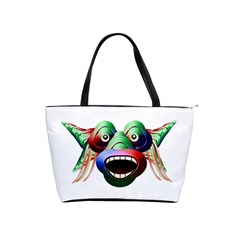 Futuristic Funny Monster Character Face Shoulder Handbags by dflcprints