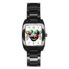 Futuristic Funny Monster Character Face Stainless Steel Barrel Watch by dflcprints