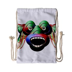 Futuristic Funny Monster Character Face Drawstring Bag (small) by dflcprints