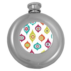 Ornaments Round Hip Flask (5 oz) by AnjaniArt