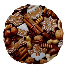 Nuts Cookies Christmas Large 18  Premium Flano Round Cushions by AnjaniArt
