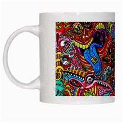 Moster Mask White Mugs by AnjaniArt