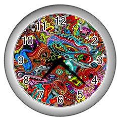 Moster Mask Wall Clocks (silver)  by AnjaniArt