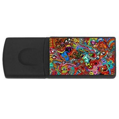 Moster Mask Usb Flash Drive Rectangular (4 Gb)  by AnjaniArt
