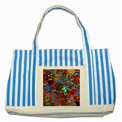 Moster Mask Striped Blue Tote Bag by AnjaniArt