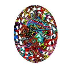 Moster Mask Oval Filigree Ornament (2 Side)  by AnjaniArt