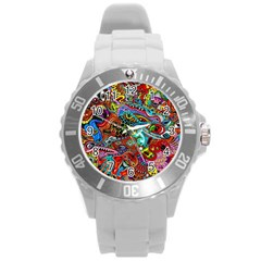 Moster Mask Round Plastic Sport Watch (l) by AnjaniArt