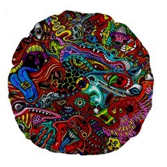 Moster Mask Large 18  Premium Round Cushions by AnjaniArt