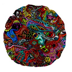 Moster Mask Large 18  Premium Flano Round Cushions by AnjaniArt