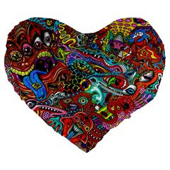 Moster Mask Large 19  Premium Flano Heart Shape Cushions by AnjaniArt