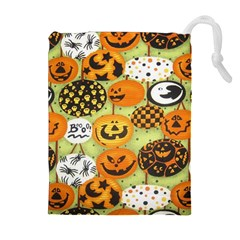 Print Halloween Drawstring Pouches (extra Large) by AnjaniArt