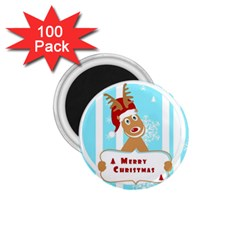 Santa Claus Reindeer Christmas 1 75  Magnets (100 Pack)  by AnjaniArt