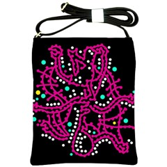 Pink Fantasy Shoulder Sling Bags by Valentinaart